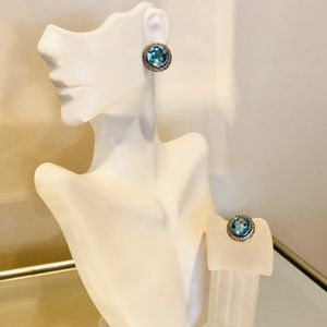 💎 David Yurman Blue Topaz & Diamond Earrings